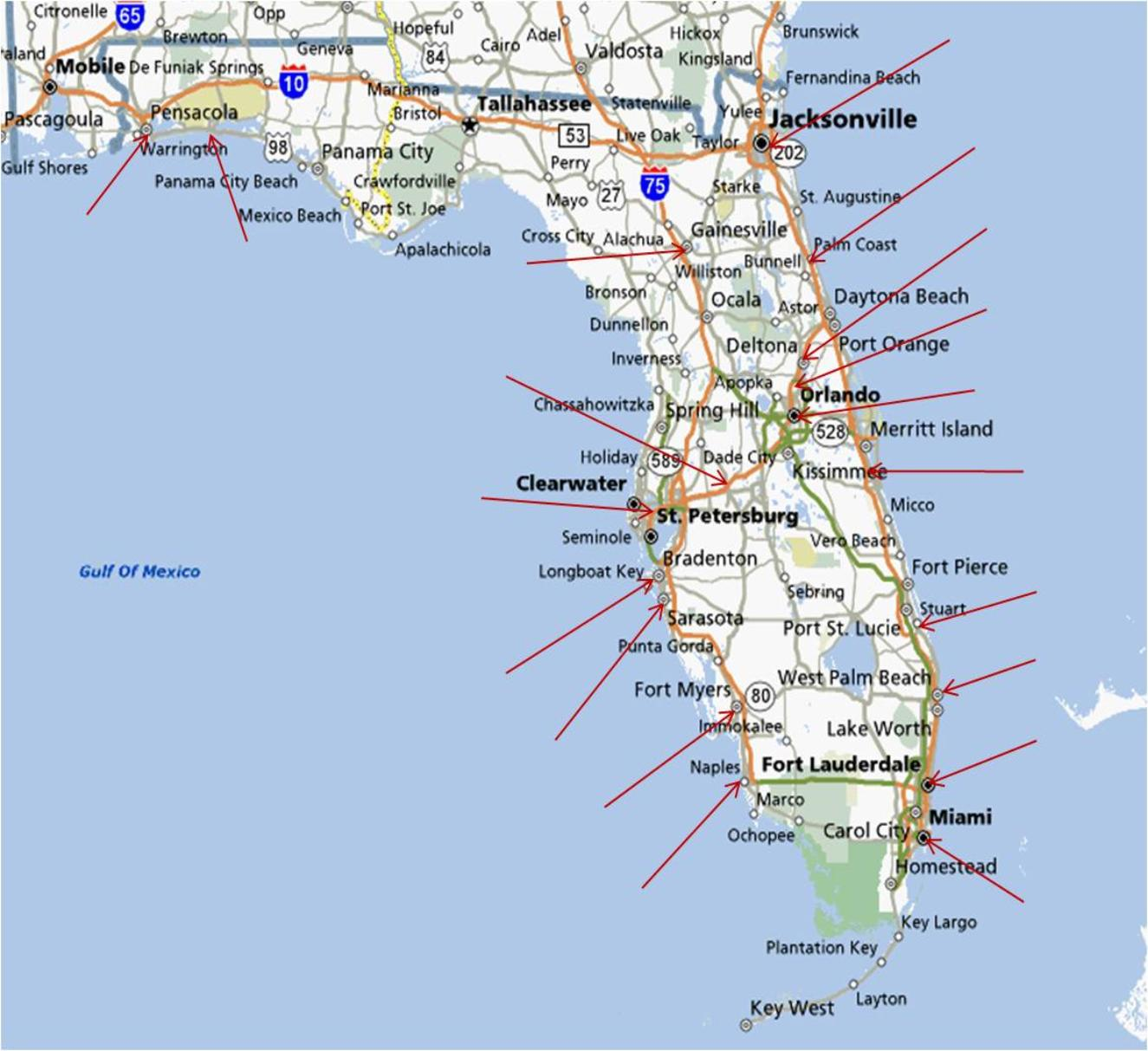 florida map of east coast beaches