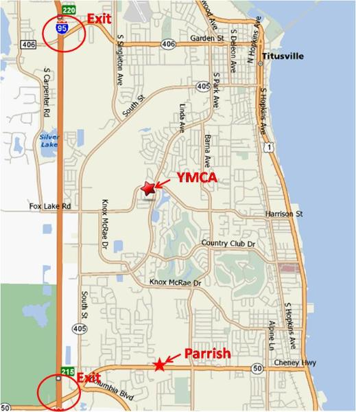 Titusville YMCA to Parrish 5K Map